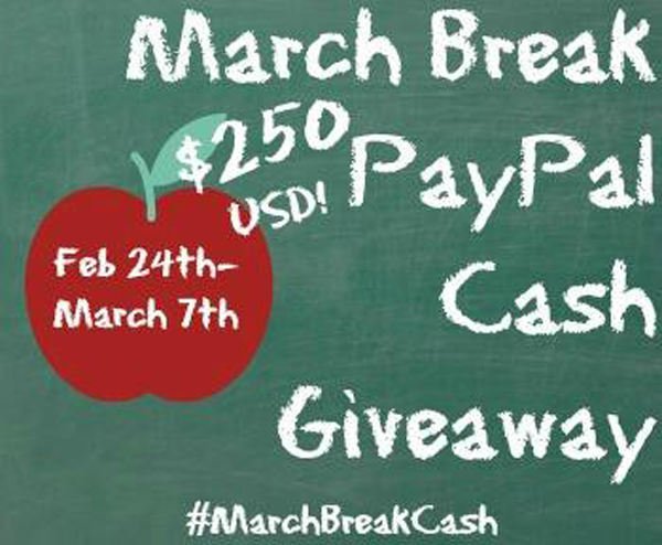 PayPal March Break Cash Giveaway