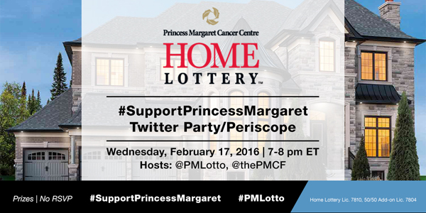 Join Princess Margaret Feb 17, 2016 7-8pm EST for #SupportPrincessMargaret Twitter Party! #PMLotto