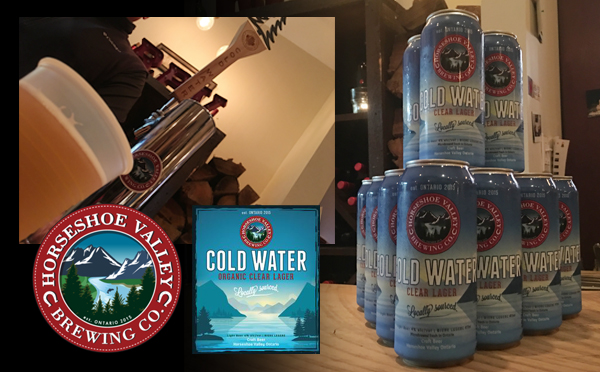 Enjoying Horseshoe Valley Brewing Co's Cold Water Organic Clear Lager in Ontario's Lake Country.