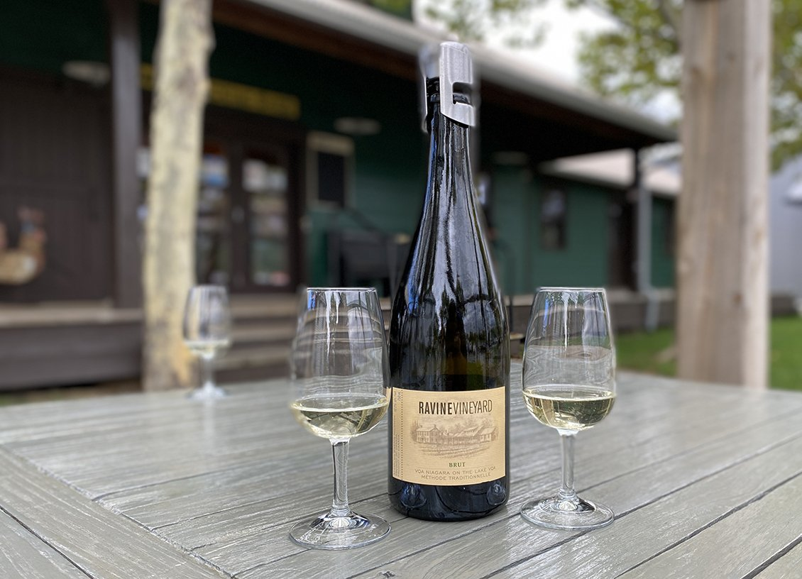 brut wine at ravine vineyard niagara falls